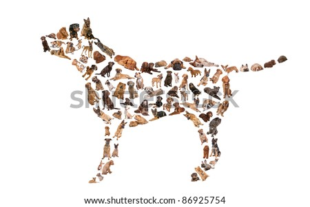 silhouette of a dog made with dog photos - stock photo