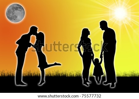 silhouette of a family with the sun and the moon