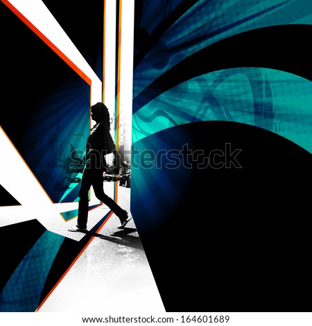 Silhouette of a female pedestrian walking across the street in the city.  Abstract montage with plenty of negative space for your layout. - stock photo