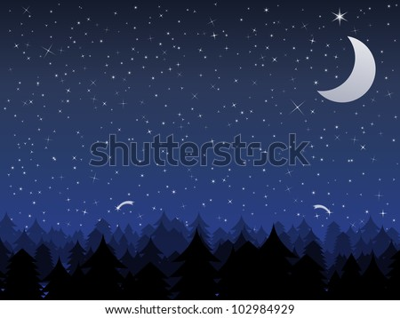 Silhouette of a forest and night sky with stars and moon