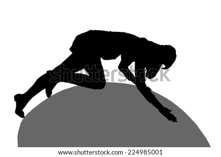 Silhouette of a girl crawling on the ball, isolated on white background.