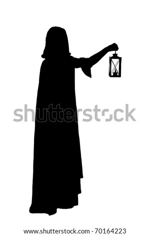 silhouette of a girl in cloak with a candle-lantern - stock photo