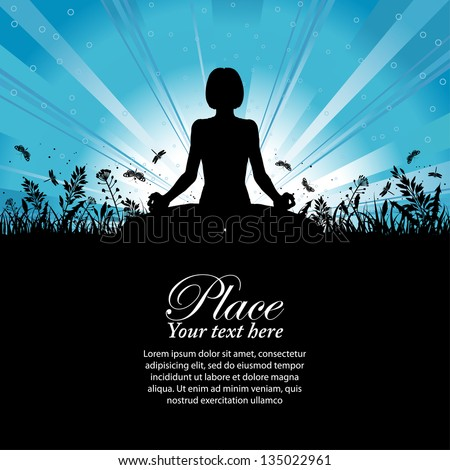 Silhouette of a Girl in Yoga pose on Nature background with grass, flower and butterfly, element for design, illustration - stock photo