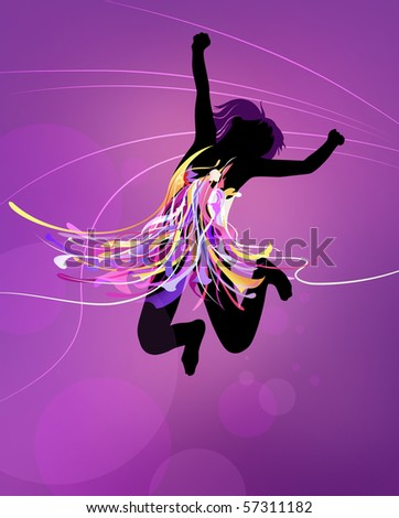 Silhouette of a girl jumping - stock photo