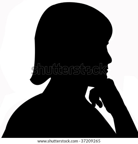Silhouette of a girl resting her hand on her fist, deep in thought.