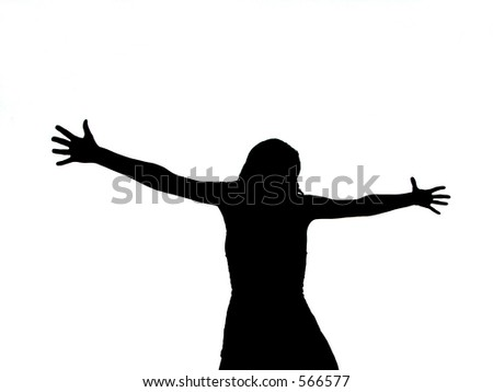 Silhouette Of A Girl Showing Her Big Succes