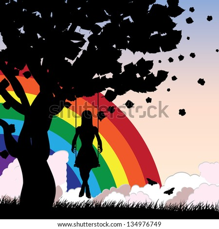 Silhouette of a girl sitting on a swing under the tree on rainbow background. - stock photo