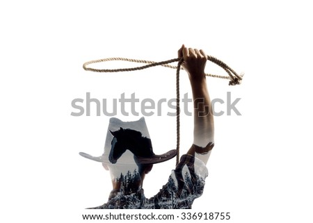 Silhouette of a girl with a lasso with the effect of multiple exposure