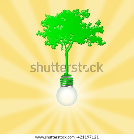 Silhouette of a green tree with roots wrapping around a light bulb emitting golden ray the concept of enlightening environment.