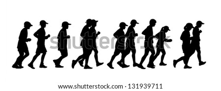 silhouette of a group of 11 persons men and women running together