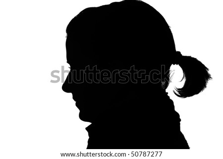 silhouette of a happy girls profile isolated on white - stock photo