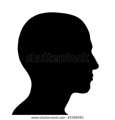 SIlhouette of a head isolated on white background - stock photo