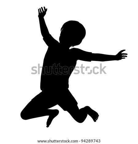 Silhouette of a healthy young child jumping high into the air