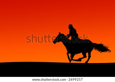 Silhouette of a horse and rider at sunset