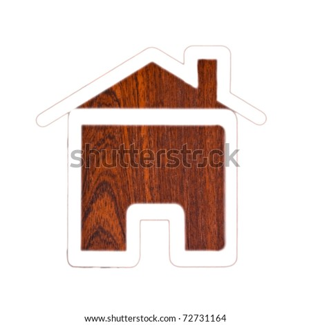 Silhouette of a house on a wooden texture - stock photo
