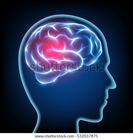 Silhouette of a human head. Migraine disease. Brain nervous system. Stock illustration.