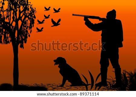 silhouette of a hunter and his canine companion at sunrise