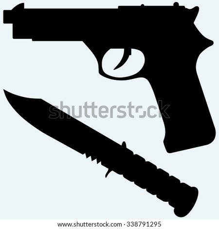 Silhouette of a knife and gun icon. Isolated on blue background. Raster silhouettes