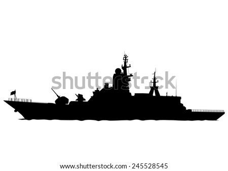 Silhouette of a large warship on a white background - stock photo