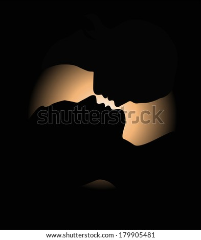 Silhouette of a loving couple. Illustration  - stock photo