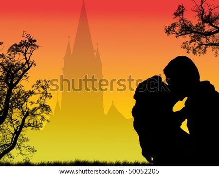 silhouette of a loving couple on the city - stock photo
