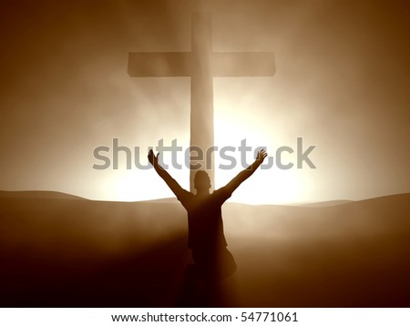 Silhouette of a man at the Cross of Jesus.