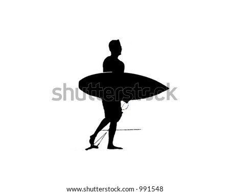 silhouette of a man carrying a surfboard - stock photo