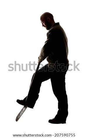 Silhouette of a man digging with shovel on isolated white background