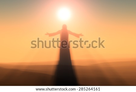 Silhouette of a man in a fog. - stock photo