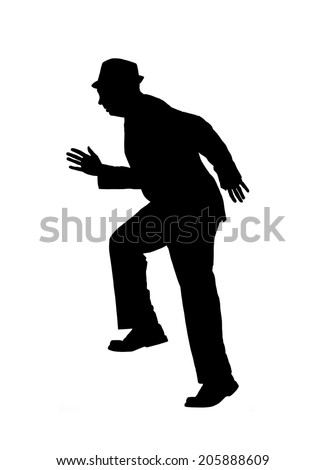 Silhouette of a man in a suit and hat running or climbing stairs isolated on white. - stock photo
