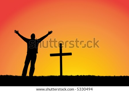 Silhouette of a man in front of a cross. - stock photo