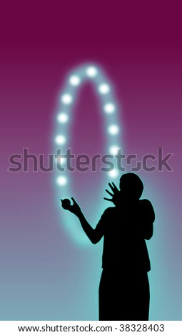 silhouette of a man juggling with a luminous ball ensemble - stock photo