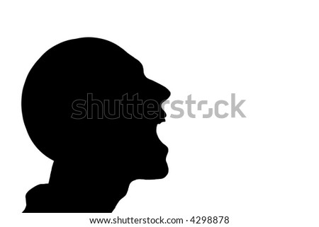 silhouette of a man laughing over white background - stock photo