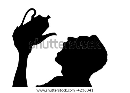 Silhouette of a man pouring tea into an open mouth over white background - stock photo