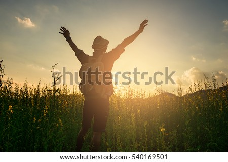 Silhouette of a man raising his arms on twilight sky and garden background - happy, relaxed & success concepts.