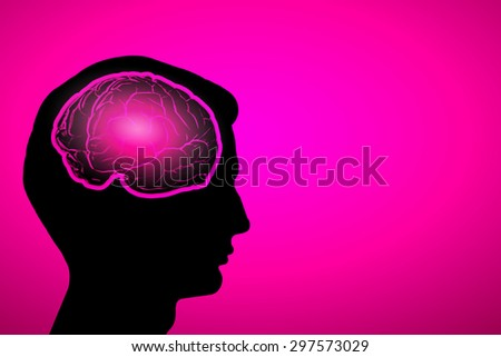 Silhouette of a man's head and brain illustration  - stock photo