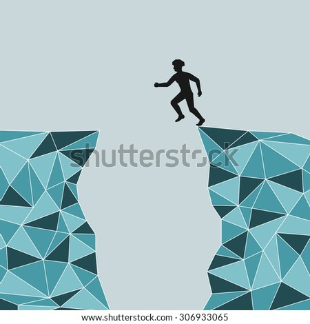 silhouette of a man who jumps over rocks. jump from mountain to mountain. Mountains in the art triangle. Safety. - stock photo