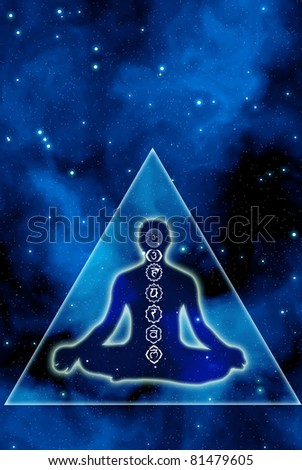 silhouette of a man with chakra symbols and mystical pyramid like a concept of esoteric cosmic healing