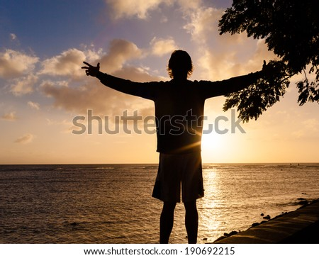 Silhouette of a man with hands raised in the sunset - stock photo