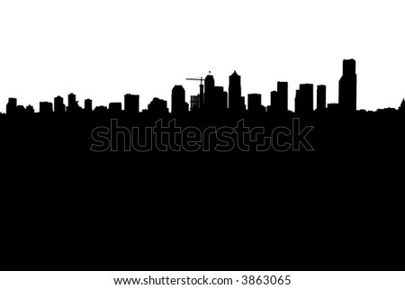 Silhouette of a Modern Downtown Skyline - stock photo