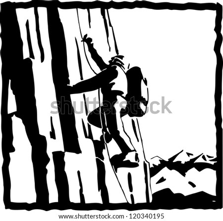 silhouette of a Mountaineers - stock photo