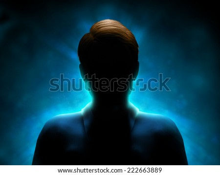 Silhouette of a mysterious figure with a strong blue back-light. Digital illustration. - stock photo