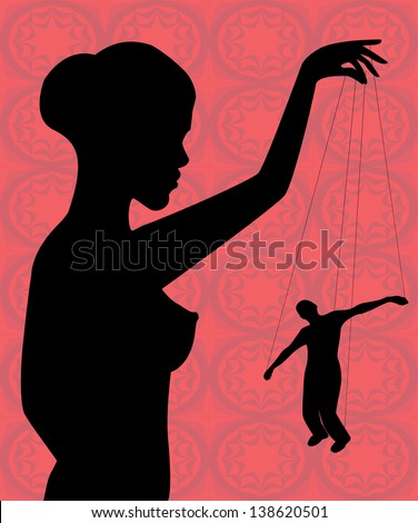 silhouette of a naked woman holding a man-puppet - stock photo