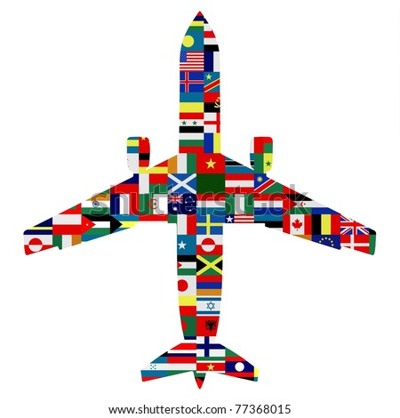 Silhouette of a passenger plane with world flags as the texture - stock photo