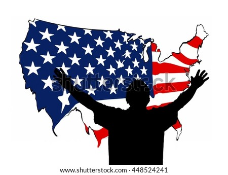 Silhouette of a Person Reaching Out Toward a Map of the United States in Decline