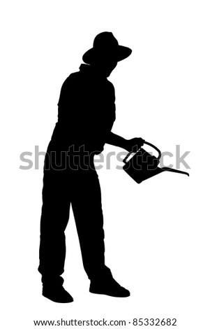Silhouette of a person with holding a watering can isolated on white background - stock photo