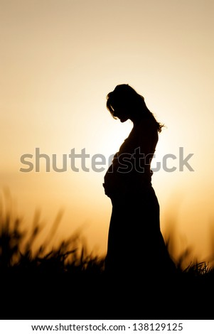 Silhouette Of A Pregnant Woman Stock Images, Royalty-Free Images ...