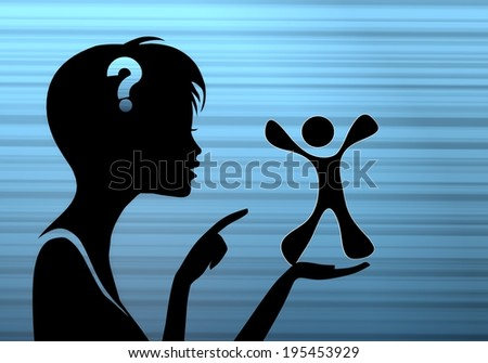 silhouette of a pretty woman presenting a happy character on stylish blue background - stock photo