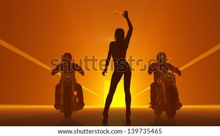 Silhouette of a rider on an orange background. - stock photo