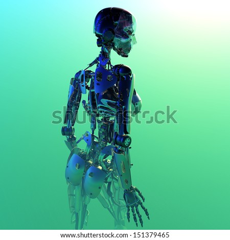 Silhouette of a robot on a green background. - stock photo